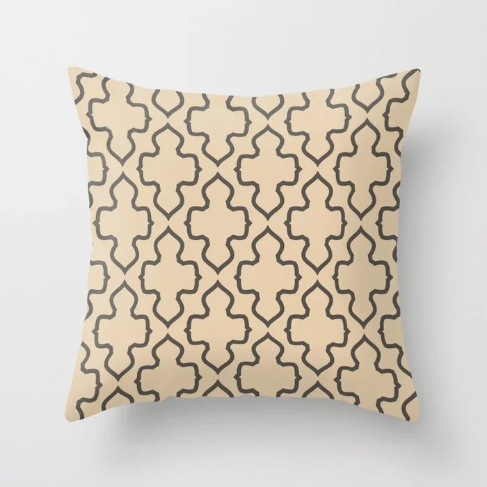 Dark Brown Tan Ornamental Shape Pattern 2021 Color of the Year Urbane Bronze and Ivoire Throw Pillow