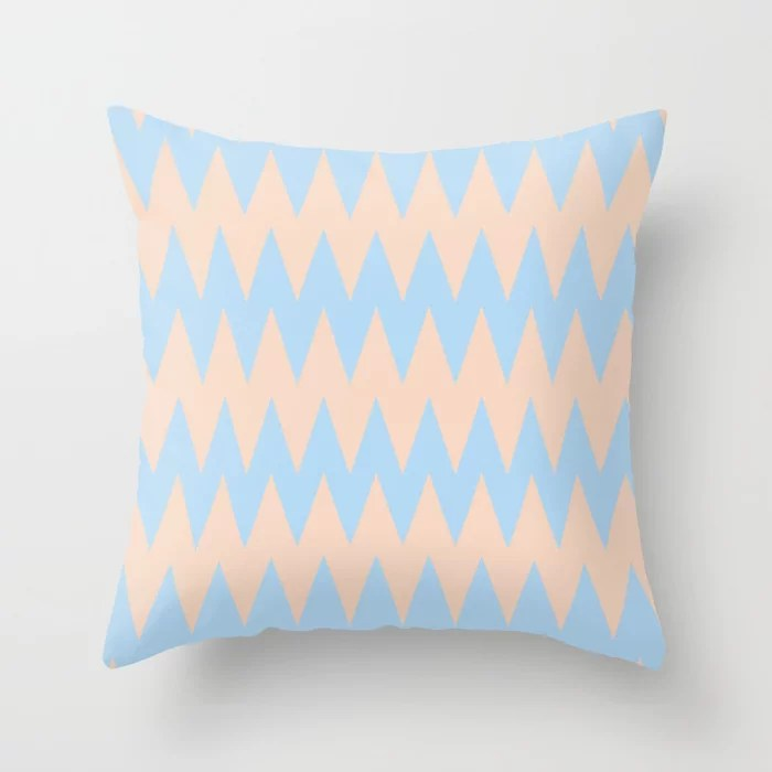 Baby Blue Peach Zigzag Rippled Stripe Pattern 2021 Color of the Year Wild Blue Yonder Natural Tan Throw Pillow