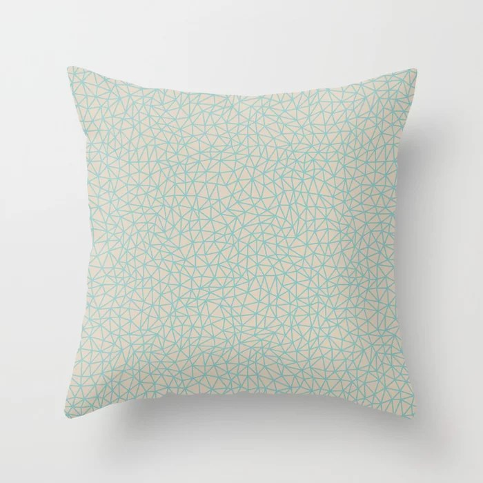 Pastel Teal and Beige Triangle Shape Pattern 2021 Color of the Year Aqua Fiesta and Sourdough Throw Pillow