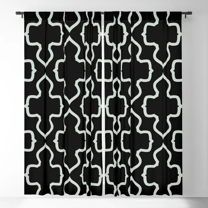 Pastel Green and Black Shape Pattern Pairs Behr 2022 Color of the Year Breezeway MQ3-21 Blackout Curtain. Spring/Summer 2022 color forecast