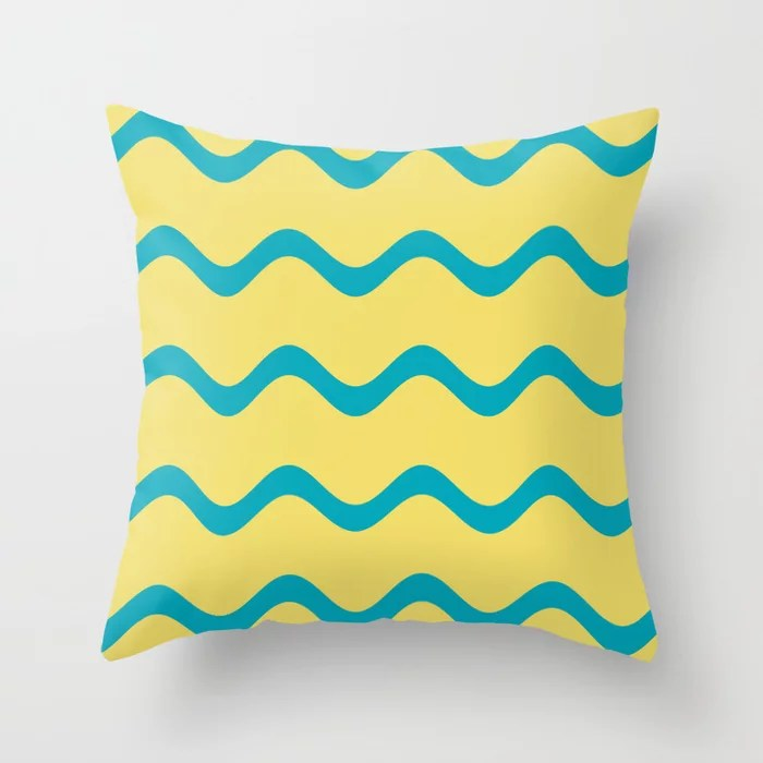 Teal and Yellow Wavy Horizontal Stripe Pattern 2021 Color of the Year AI Aqua and Lemon Sherbet Throw Pillow