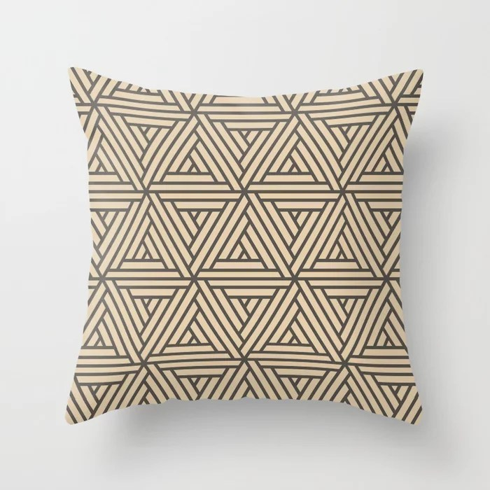 Brown Buff Beige Abstract Shape Pattern 2 Throw Pillow Matches Sherwin Williams Paints 2021 Color of the Year Urbane Bronze and Ivoire