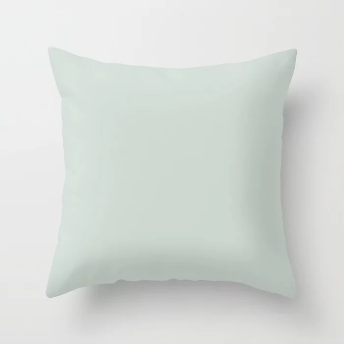 Pastel Green Solid Color Throw Pillow Pairs Behr 2022 Color of the Year Breezeway MQ3-21. 2022 color scheme, trending interior design hue.