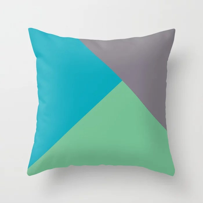 Blue-green Gray Green Abstract Pattern 2021 Color of the Year AI Aqua 098-59-30 Throw Pillow