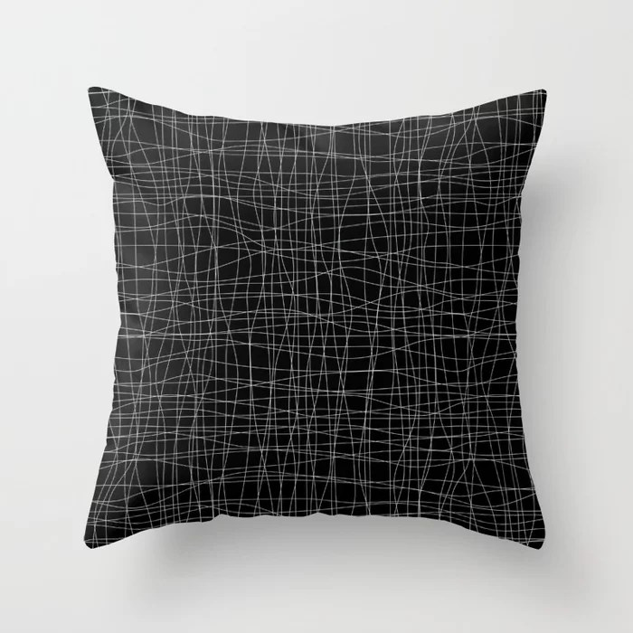 Pastel Green and Black Mosaic Grid Pattern Pairs Behr 2022 Color of the Year Breezeway MQ3-21 Throw Pillow. 2022 color scheme, trending interior design hue.
