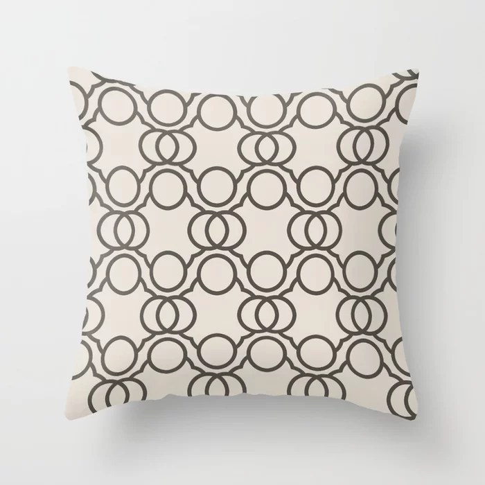 Brown And Cream Geometric Circle Pattern Throw Pillow Matches Sherwin Williams Paints 2021 Color of the Year Urbane Bronze and Shoji White