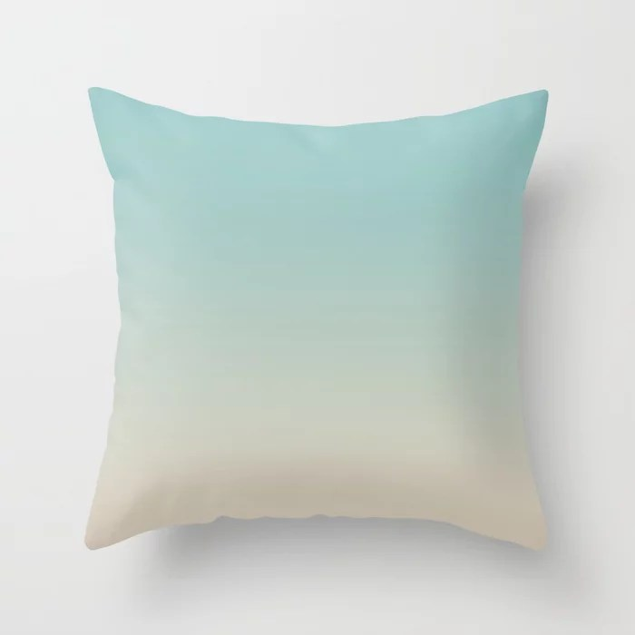 Pastel Teal and Beige Gradient Ombre Blend 2021 Color of the Year Aqua Fiesta and Sourdough Throw Pillow