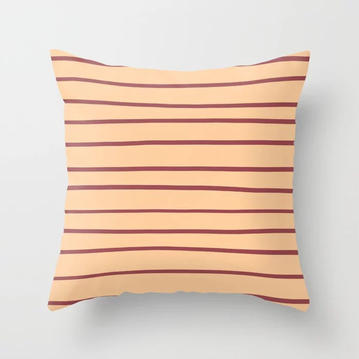 Red and Peach Horizontal Stripe Pattern 2021 Color of the Year Passionate and Pale Apricot Throw Pillow