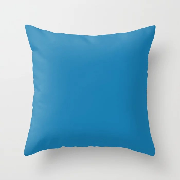 Tropical Blue Single Solid Color Pairs Rustoleum 2021 Color Of The Year Accent Shade Satin Lagoon Throw Pillow