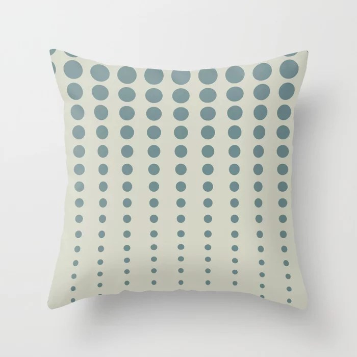 Blue-Green Beige Reduced Polka Dot Pattern V2 2021 Color of the Year Aegean Teal and Sweet Spring Throw Pillow