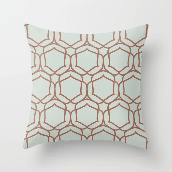 Pastel Green and Clay Shape Tile Pattern 2 Pairs Behr 2022 Color of the Year Breezeway MQ3-21 Throw Pillow. 2022 color scheme, trending interior design hue.