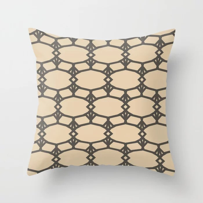 Dark Brown Tan Ornamental Shape Pattern 5 2021 Color of the Year Urbane Bronze and Ivoire Throw Pillow
