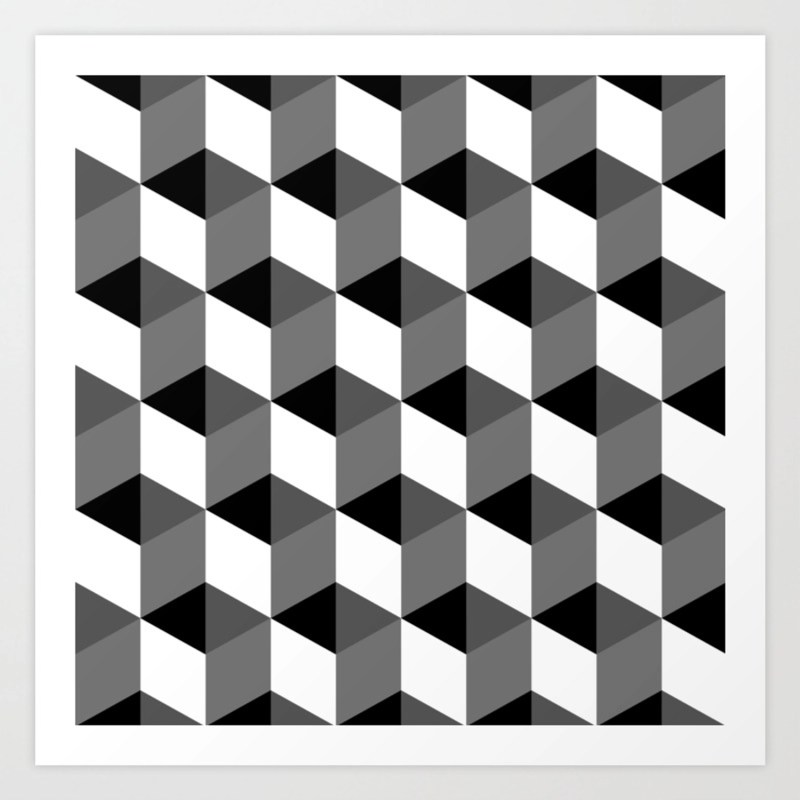 Geometric Optical Illusion Cube Art Art Print by erinpurcell | Society6