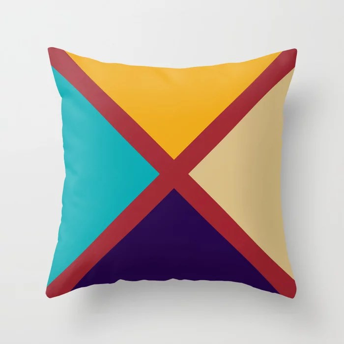 Red Purple Aqua Orange Beige X Design 2021 Color of the Year Satin Paprika and Accent Shades Throw Pillow