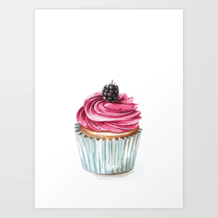 Sunday's Society6 | Blueberry cupcake art print