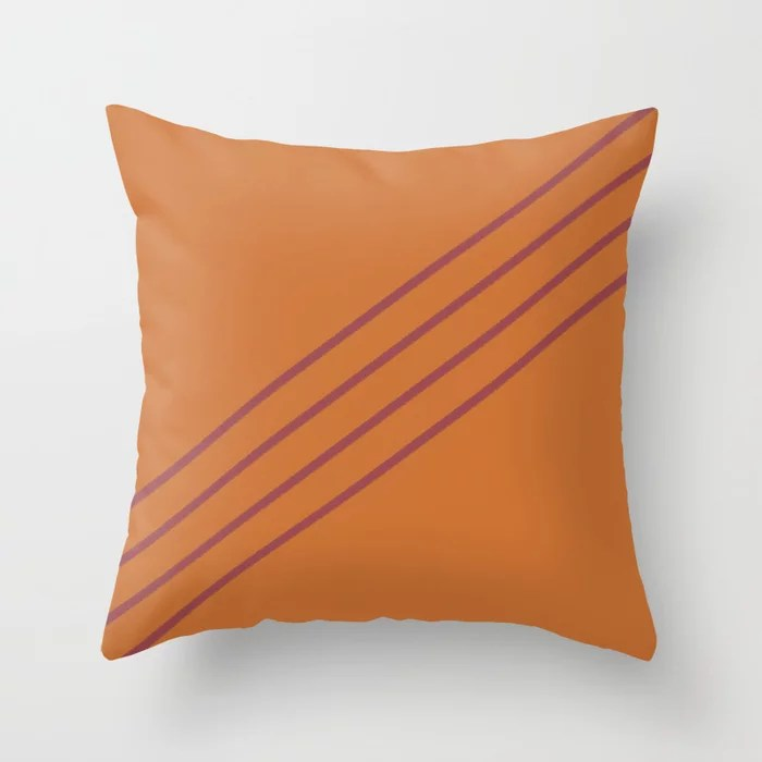 Red and Orange Diagonal Line Pattern Pairs HGTV 2021 Color of the Year Passionate Throw Pillow