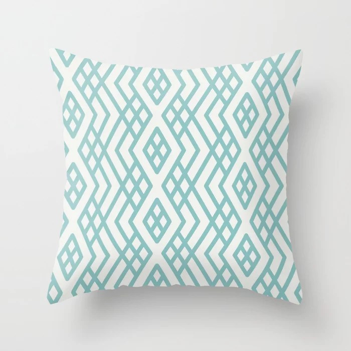 Aquamarine White Geometric Mosaic Pattern 3 2021 Color of the Year Aqua Fiesta and Delicate White Throw Pillow