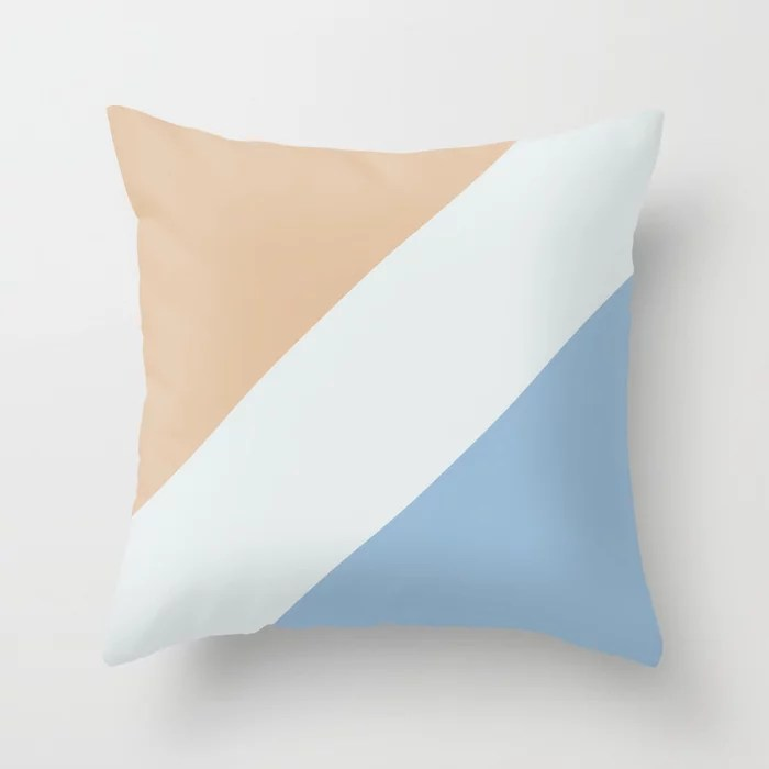 Pastel Blue White Peach Diagonal Stripe Pattern Throw Pillows inspired by and pairs to (matches / coordinates with) Dutch Boy 2021 Color of the Year Earth's Harmony & Accent Hues
