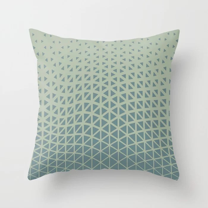 Muted Aqua and Green Gradient Wave Pattern 2021 Color of the Year Aegean Teal & Salisbury Green Throw Pillow