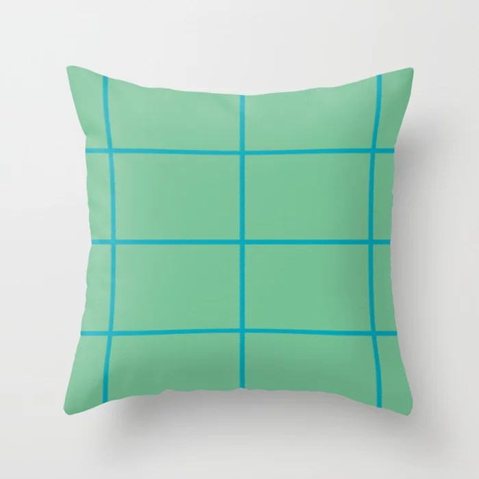 Blue-green Green Sponge Paint Thin Check Pattern 2021 Color of the Year AI Aqua 098-59-30 Throw Pillow