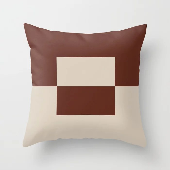 Light Beige Reddish Brown Minimal Square Design 2: Hues were inspired by and match (pair / coordinate with) 2021 Color of the Year Uptown Ecru and Terra Rosa Throw Pillow