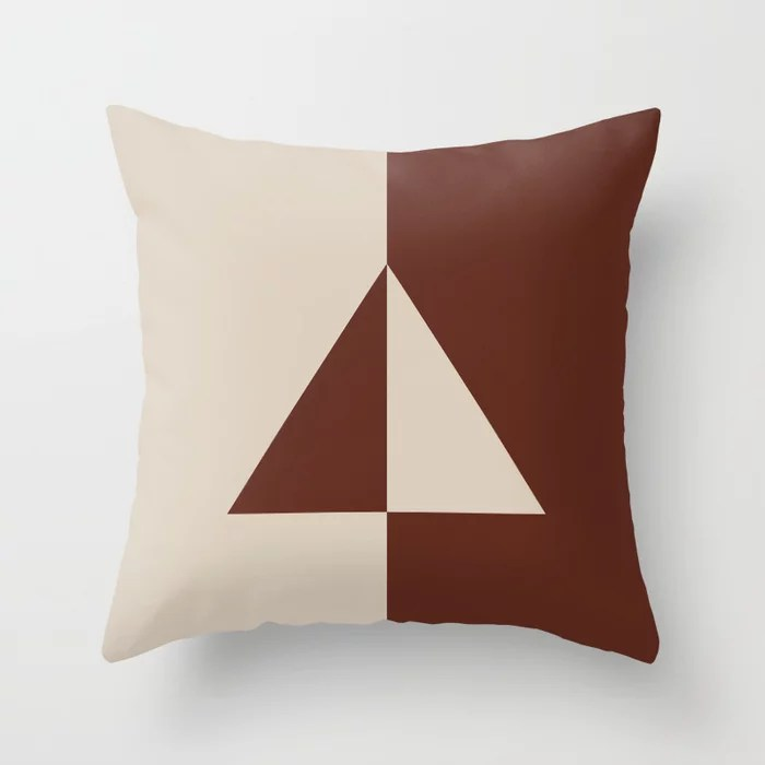 Light Beige Reddish Brown Minimal Triangle Design: Hues were inspired by and match (pair / coordinate with) 2021 Color of the Year Uptown Ecru & Terra Rosa Throw Pillow