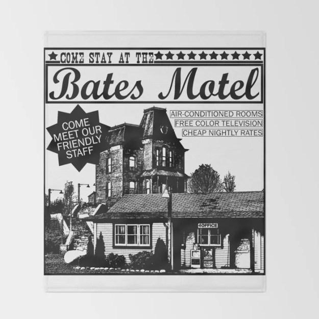 Bates Motel Advertisement - Black Type Throw Blanket by Riley Ackley