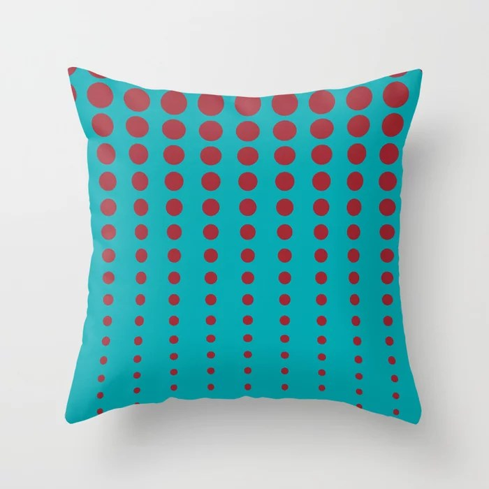 Aqua and Red Reduced Polka Dot Pattern 2021 Color of the Year Satin Paprika and Vintage Teal Throw Pillow