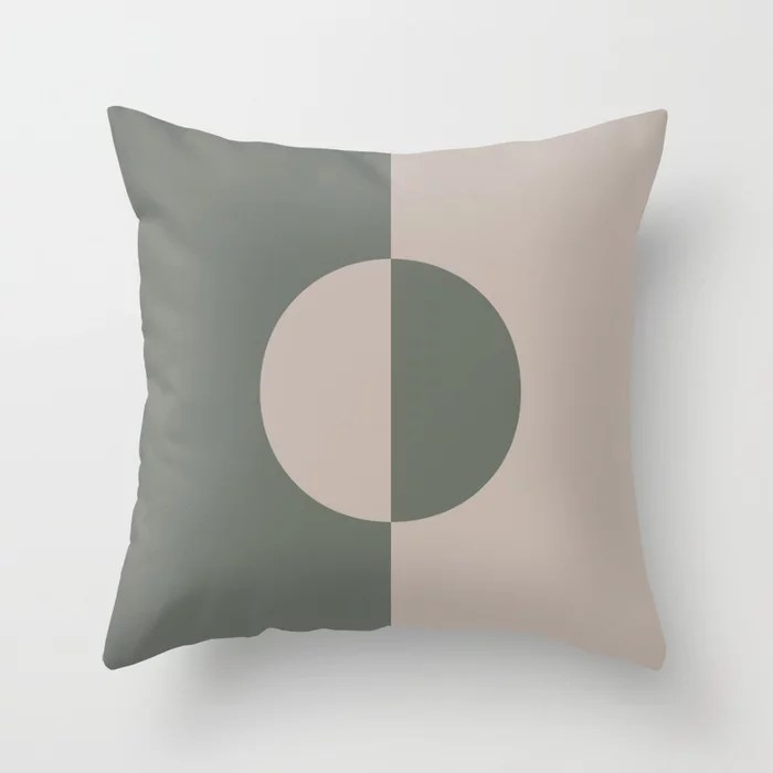 Moody Green Neutral Beige Minimal Circle Design 2021 Color of the Year Contemplative and Stucco Throw Pillow