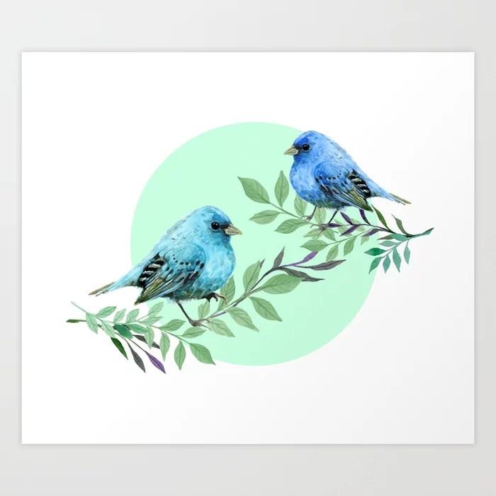 Sunday's Society6 | Blue birds art print