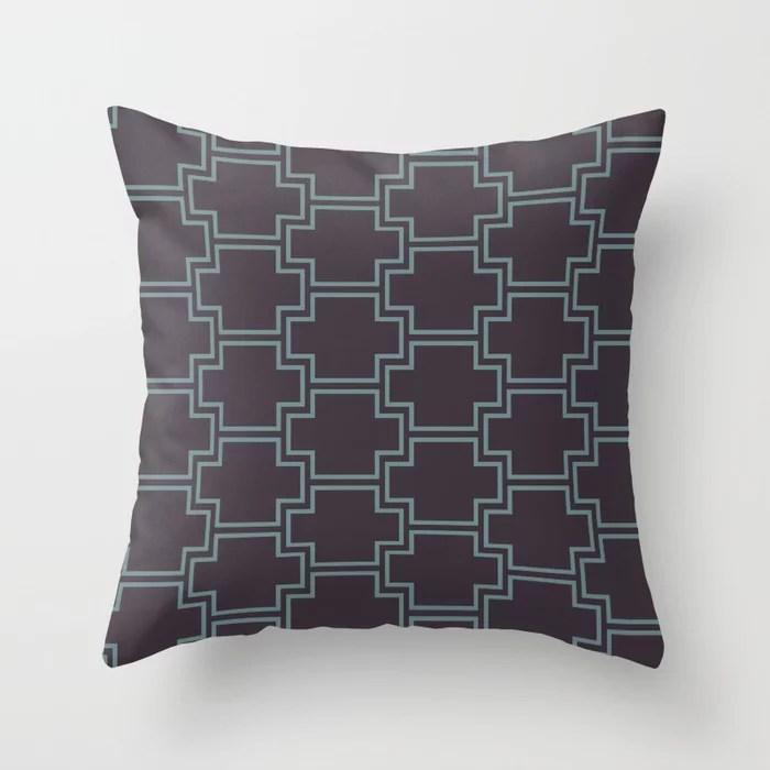 Blue-Green Purple Line Pattern 2 Ornamental Box V2 2021 Color of the Year Aegean Teal Tulsa Twilight Throw Pillow