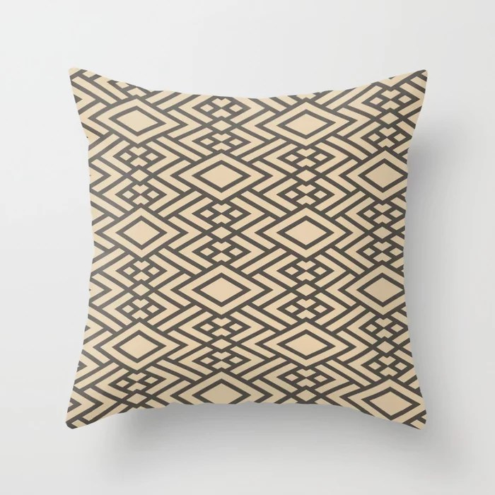 Brown and Tan Geometric Art Deco Diamond Pattern Throw Pillows Match and coordinate with Sherwin Williams Paints 2021 Color of the Year Urbane Bronze and Ivoire
