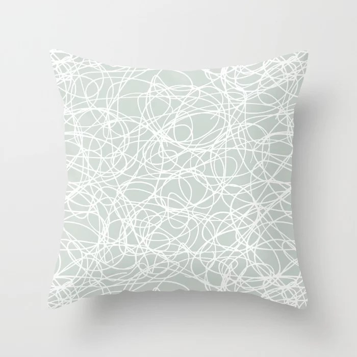 Mint Green and White Scribble Mosaic Pattern Behr 2022 Color of the Year Breezeway MQ3-21 Throw Pillow. 2022 color scheme, trending interior design hue.