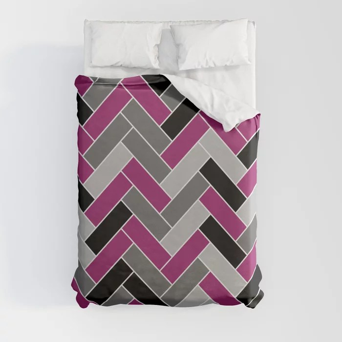 Magenta Gray Black and White Herringbone Pattern - Colour of the Year 2022 Orchid Flower 150-38-31 Duvet Cover - color for 2022