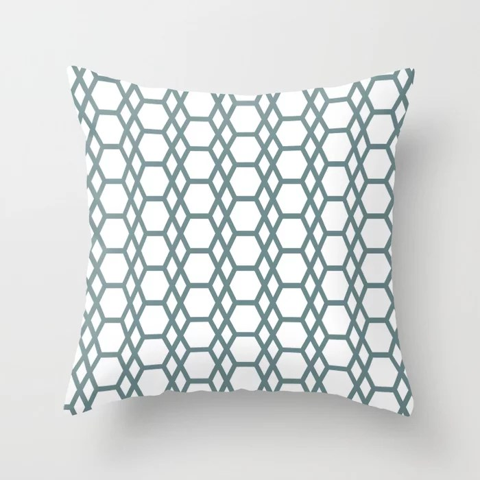 Blue-Green White Line Pattern 13 Hexagon Diamond 2021 Color of the Year Aegean Teal and Pure White Throw Pillow