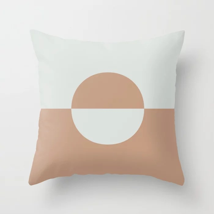 Sand Storm Beige Ultra Pale Gray Circle Design 2 2021 Color of The Year Canyon Dusk and Tinsmith Throw Pillow