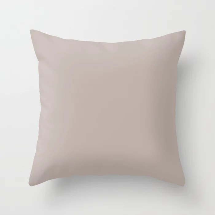 Luscious Light Pastel Mauve Pink Solid Color Pairs To Sherwin Williams Temperate Taupe SW 6037 Throw Pillow