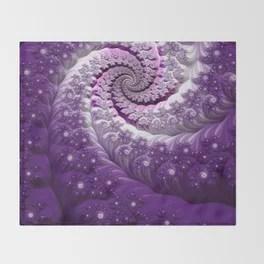 Beautiful Bloom of Lilacs Lavender Fractal Spiral Throw Blanket