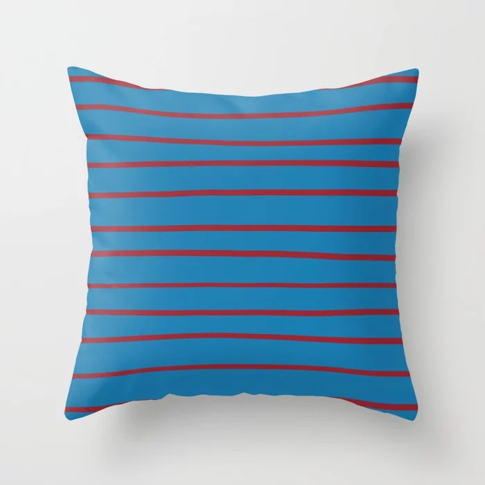 Red and Blue Thin Stripe Pattern2021 Color of the Year Satin Paprika and Satin Lagoon Throw Pillow