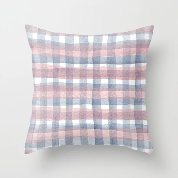 Pink And Blue Watercolour Checkers Throw Pillow by conTEXT