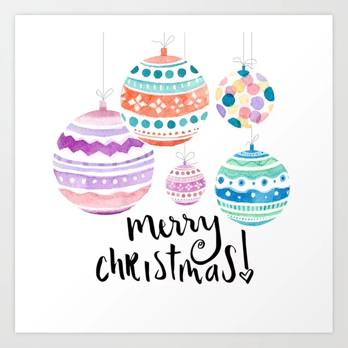Sunday's Society6 | Watercolor Christmas ball art print