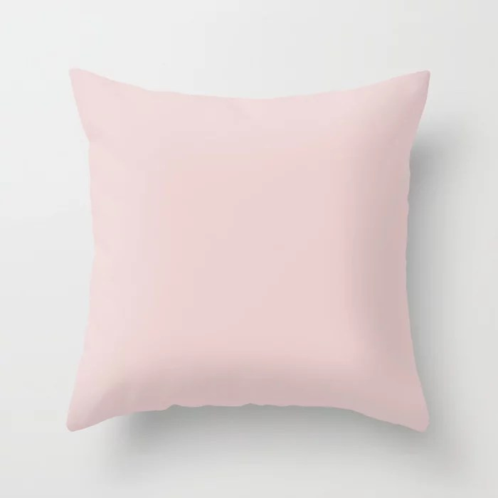 Ultra Light Pastel Baby Pink Purple Solid Color Matches Sherwin Williams Innocence SW 6302 Throw Pillow