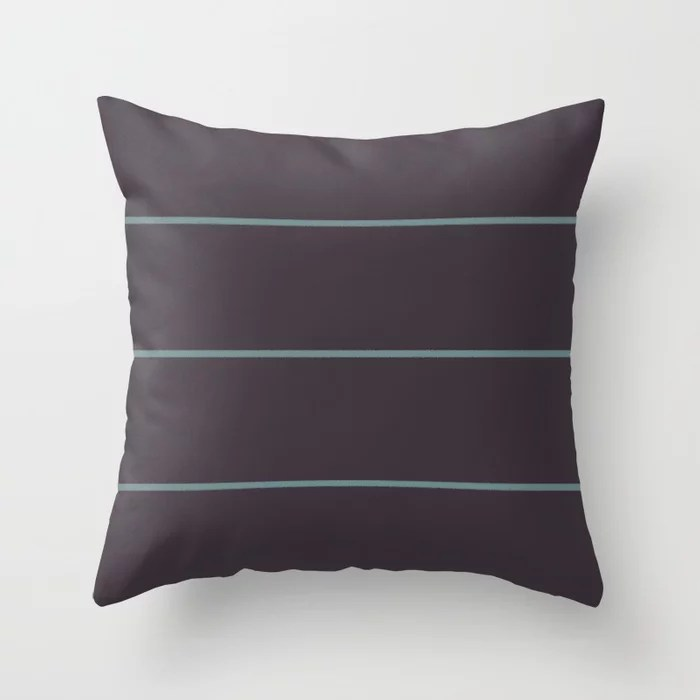 Muted Aqua and Purple Thin Stripe Pattern 2021 Color of the Year Aegean Teal and Tulsa Twilight Throw Pillow