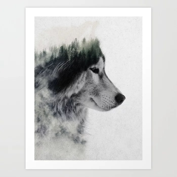 Sunday's Society6 | Double exposure wolf photography art print
