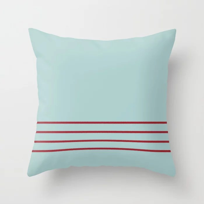 Pastel Blue and Red Thin 4 Stripe Pattern 2021 Color of the Year Satin Paprika and Serenity Blue Throw Pillow