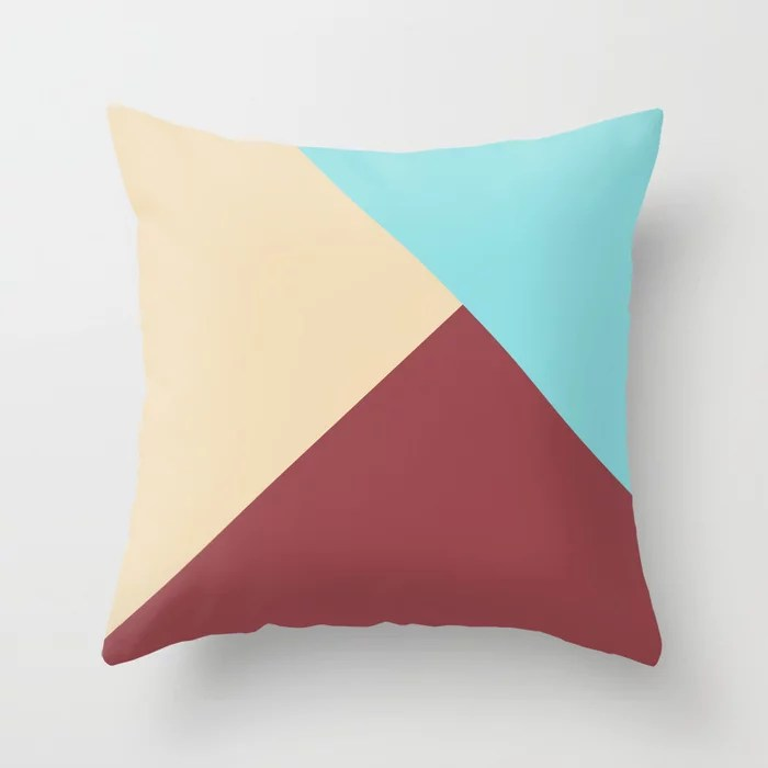 Red Beige Pastel Blue Solid Color Abstract Design Pairs HGTV 2021 Color of the Year Passionate Throw Pillow