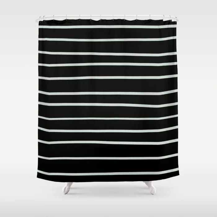 Pastel Green and Black Horizontal Line Pattern Pairs Behr 2022 Color of the Year Breezeway MQ3-21 Shower Curtain. 2022 color trend