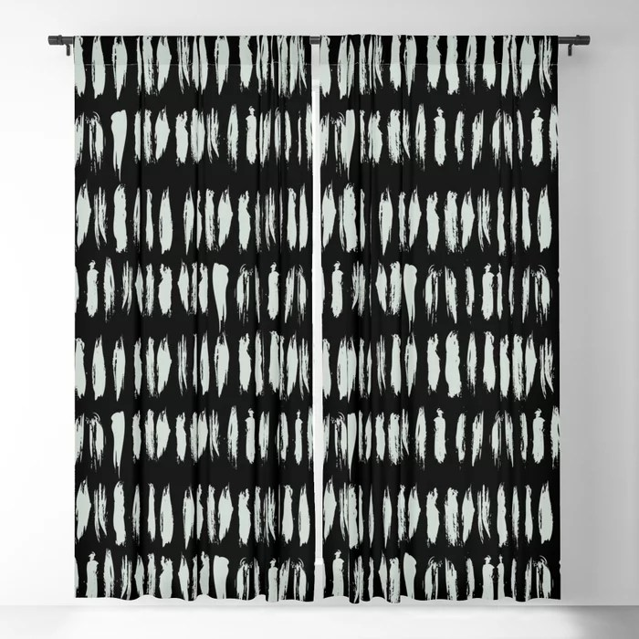 Pastel Green and Black Stripe Dash Lines Pattern Pairs Behr 2022 Color of the Year Breezeway MQ3-21 Blackout Curtain. Decorating colors for 2022