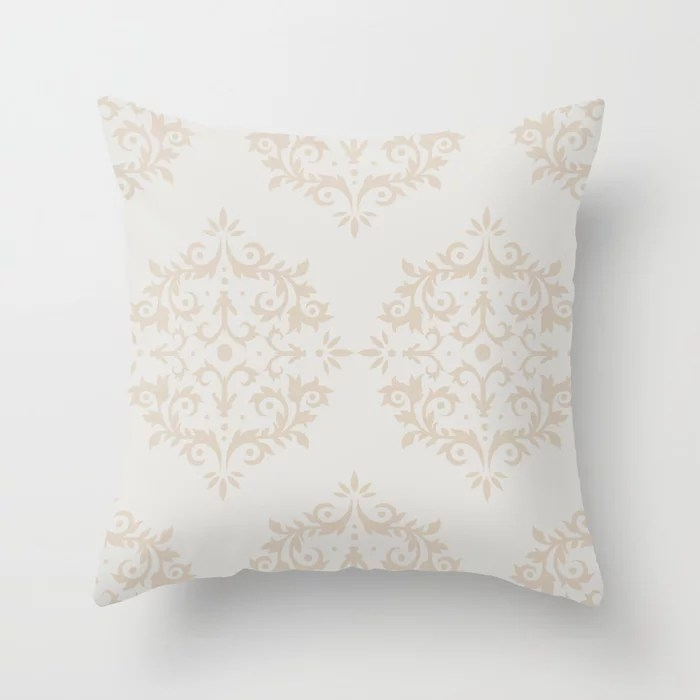 Light Beige White Damask Scroll Pattern: Hues were inspired by and match (pair / coordinate with) 2021 Color of the Year Uptown Ecru & Gesso White Throw Pillow
