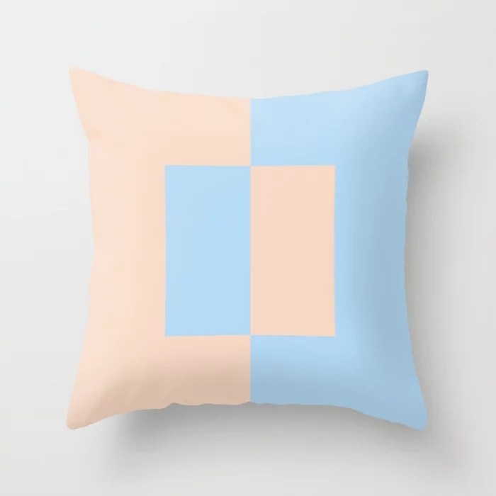 Baby Blue and Peach Minimal Square Design 2021 Color of the Year Wild Blue Yonder Natural Tan Throw Pillow